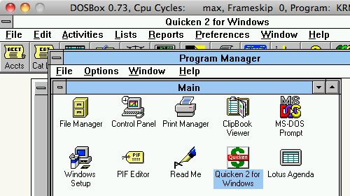 Running Quicken 2.0 and Lotus Agenda in DOSBox