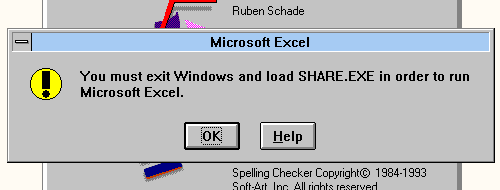 You must exit Windows and load SHARE.EXE in order to run Microsoft Excel.