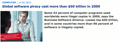 Screenshot of DW's report on software piracy