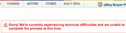 Ebay technical difficulties