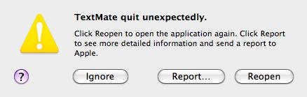 TextMate quit unexpectedly