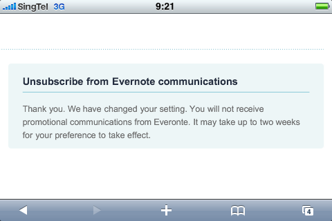 Evernote's unsubscribe message