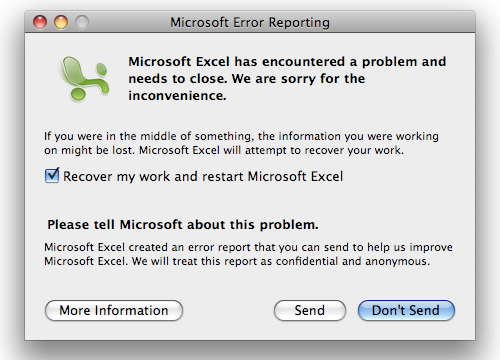Microsoft Excel for Mac has encountered a problem and needs to close