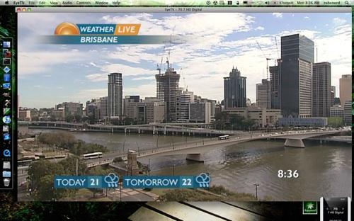 Sunrise live weather image of Brisbane