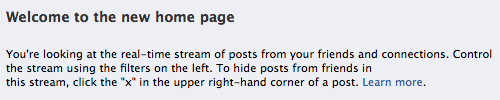 Current message on the new Facebook home screen.