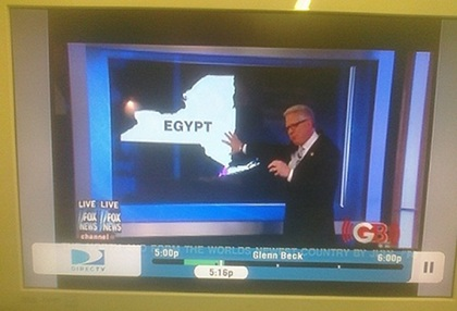 Glenn Beck with New York State labelled as Egypt