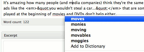 Firefox telling me the word movie is misspelled