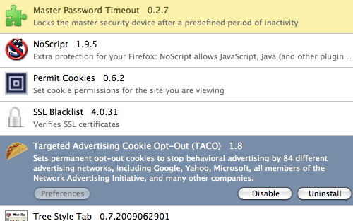 TACO and Master Password Timeout in Firefox 3.5