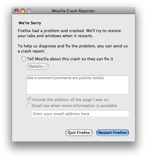 Firefox crash message