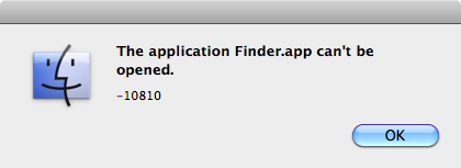 The Application Finder can't be opened, error -10810