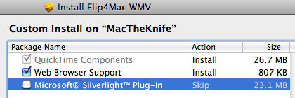 Silverlight installing itself with Flip4Mac