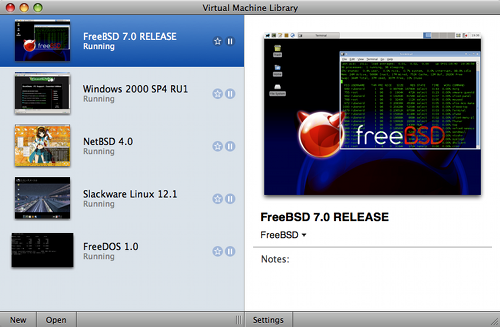 VMware Fusion 2.0 beta 2 Virtual Machine Library