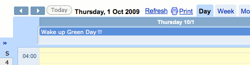 Google Calendar for the 1st of October