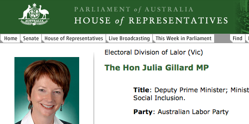 Julia Gillard's ALP website