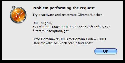GlimmerBlocker error message