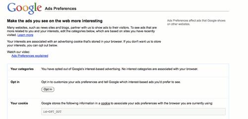 Screenshot showing Google's Interests settings.