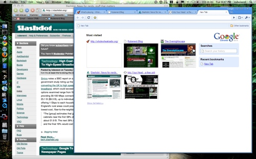 Google Chrome running Mac OS X