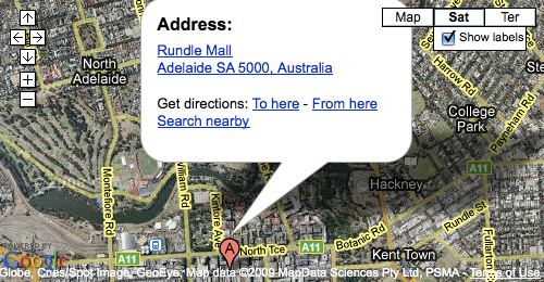 Google Map of Rundle Mall