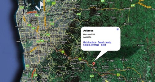 Hahndorf and Adelaide in Google Maps