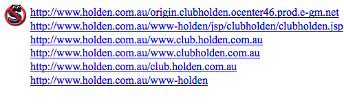 Screenshot of the Holden website if you use NoScript or have JavaScript disabled