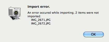 Import error. An error occured while importing.