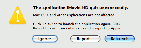 iMovie HD crash dialog box