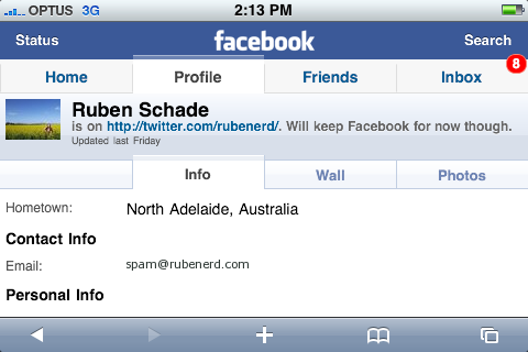 Facebook on my iPhone