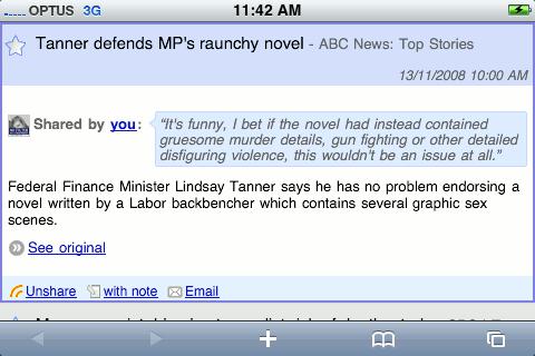 Screenshot of Google Reader on my iPhone.