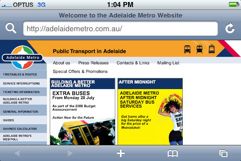 Viewing the Adelaide Metro site on the iPhone