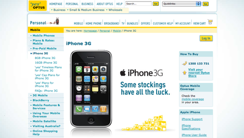 The Optus iPhone advertisement page