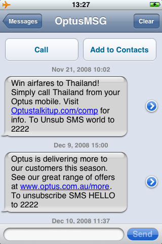 Some of my own Optus spam from when I was in Australia