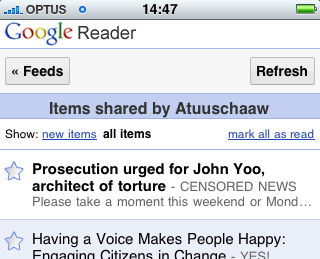 The new Google Reader iPhone web application