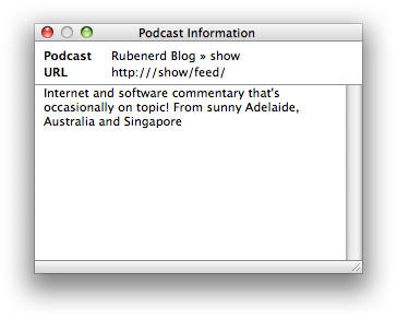 Screenshot from iTunes with the incorrect URL