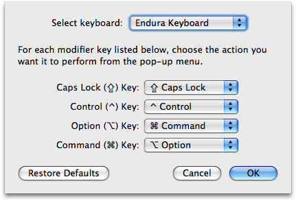 Swapping keys in the System Preferences modifier key window