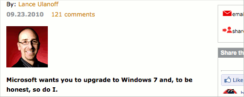 Lance Ulanoff's article about Windows XP.