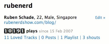 Screenshot of my Last.fm profile