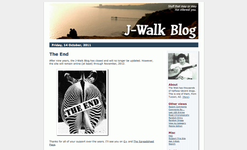 Screenshot showing the last entry from the J-Walk Blog.