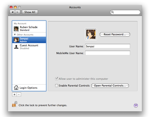Accounts preference pane in System Preferences