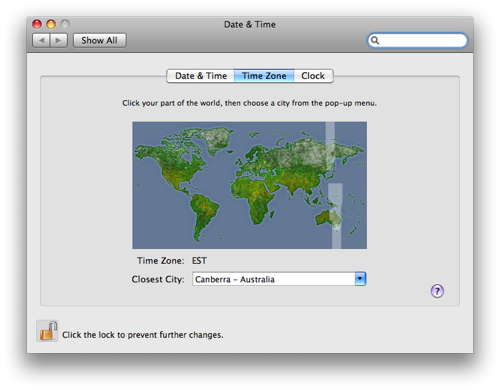 Mac OS X Leopard Date & Time preference pane showing the Australian Eastern timezone