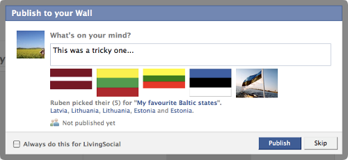 I created a category called My Top 5 Favourite Baltic States. Was trickier to finish than I thought…