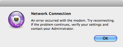 Mac OS X Network Connection Error message