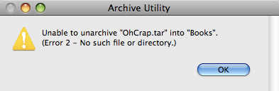 Archive Utility having trouble with a malformed/damaged tar file