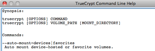 TrueCrypt Command Line Help window
