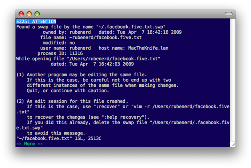 MacVim informting me of a file that can be restored