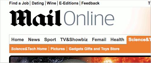 Screenshot showing Mail Online