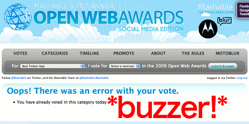 Mashable Open Web Awards Fail!
