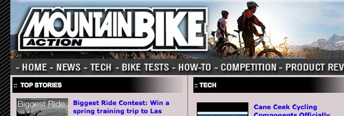 Screenshot from the Mountain Bike Action website