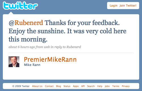 Mike Rann's latest comment to me on Twitter