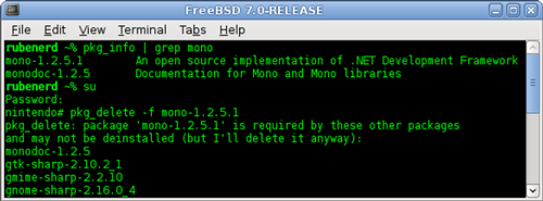 GNOME Terminal running in FreeBSD showing the removal of Mono