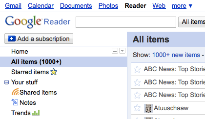 The new Google Reader interface